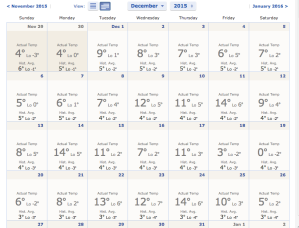 December GTA weather